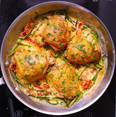 Chicken Thighs with Creamy Asparagus, Sun-Dried Tomato Sauce