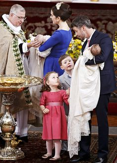 """""""The Crown Princely Family at the Christening of the Twins"""" Denmark Royal Family, Greek Royal Family, English Royal Family, Danish Royal Family, Crown Princess Mary, Prince And Princess, Princess Kate, Prince Christian Of Denmark, Prince Frederik Of Denmark"""