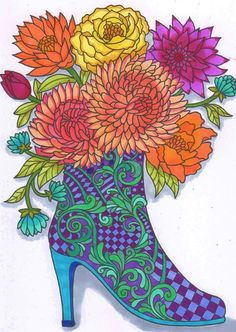 ColorIt Freebie Friday Colorist: Lorrie Palmer #adultcoloring #coloringforadults #adultcoloringpages #decades #boots