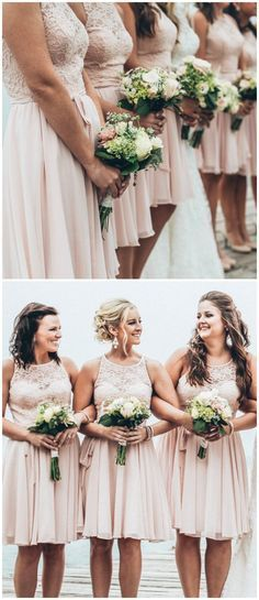 There's nothing more romantic than a lace and chiffon bridesmaid dress in blush. | Kennedy Blue Bridesmaids | Ali Kvidt Photography