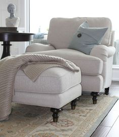 Pottery Barn Carlisle Upholstered Chair and Ottoman