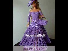 Barbie Crochê Miniaturas Artesanato e Coisas Mais: Vestido Longo de Crochê Com Luvas Para Barbie e Susi Por Pecunia MillioM