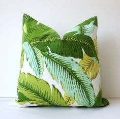 Lime green Floral Designer Pillow Cover 18x18 Accent Cushion Tropical citrine citrus aqua Palm frond Leaves nature jungle hollywood regency. $40.00, via Etsy.