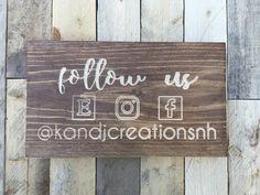 Social Media Sign | Small Business | Marketing Tool | Instagram Sign | Etsy Sign | Facebook Sign | Follow Us | by KandJCreationsNH on Etsy