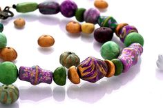 Dreamy Purple Colorful Statement Necklace by GaiasBEADSandBAGS