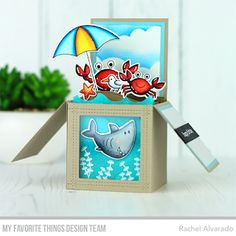 Stamps: Beach Buds, Gill Friends, Just Beclaws | Die-namics: Beach Buds, Just Beclaws, Ocean Waves, Square Peek-a-Boo Window, Stitched Snow Drifts | Stencil: Cloud — Rachel Alvarado #mftstamps
