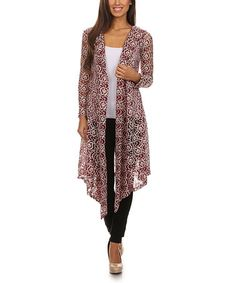 Look what I found on #zulily! Burgundy & White Floral Paisley Lace Hooded Open Duster #zulilyfinds