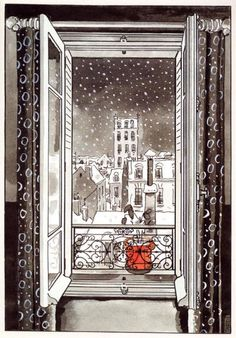 Par la fenetre Jacque Tardi City Drawing, Painting & Drawing, Bd Art, City Sketch, Through The Window, Art Plastique, Comic Artist, All The Colors, Art Quotes