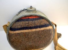 Vintage Metal Tin Canteen With Wool, $15.00