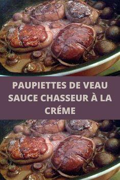 """Alors que traditionnellement les paupiettes de boeuf sont servies dans une sauce à la tomate, j'ai proposé ici de les accompagner avec une sauce """"classique"""" sauce chasseur à la créme. L'association avait beaucoup plu à la maison, et a priori vous confirmez ce succès.  Les paupiettes sont constituées d'une tranche de viande garnie d'une belle farce et roulée avant cuisson. Elles sont également appelées alouette sans tête en Provence. Sauce Chasseur, Love Food, Beef Recipes, Pork, Pizza, Meat, Provence, Goodies, Cooking Recipes"""