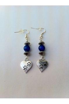 Blue bead and heart pawprint charm earrings#etsy, #MoggysMall, #earrings, #heart, #pawprint, #cat