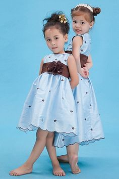 Scoop Elegant Blue Flower Girl Dresses - Order Link: http://www.theweddingdresses.com/scoop-elegant-blue-flower-girl-dresses-twdn1089.html - Embellishments: Sash , Flower; Length: Tea Length; Fabric: Taffeta; Waist: Natural - Price: 73.54USD