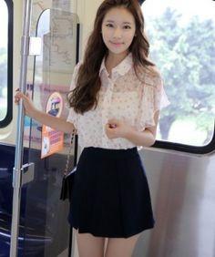 Korea Elegant Sheer Printed Chiffon Blouse Apricot Chiffon Shirt, Blouse Styles, Wholesale Fashion, Blouses For Women, Skater Skirt, Fancy, Elegant, Korea, Skirts