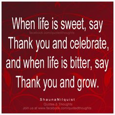 When life is sweet, say Thank you and celebrate, and when life is bitter, say Thank you and grow. ~ Shauna Nilquist ~