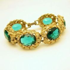 Vintage Wide Chunky Bracelet with Green Glass Stones - Beautiful Accessory for a Night Out - Order today from #MyClassicJewelry and this week only SAVE 15% on ALL bracelets in our #eBay store - http://www.ebay.com/itm/Vintage-Wide-Chunky-Bracelet-Large-Green-Glass-Stones-Nouveau-Style-/351009714458?pt=Vintage_Costume_Jewelry&hash=item51b9cf311a
