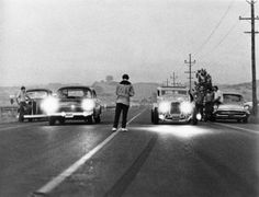 American Graffiti classic hot rod drag race scene Milner's Ford Coupe & Falfa's Chevy Poster American Graffiti, Classic Hot Rod, Classic Cars, Chevy Classic, Muscle Cars, Epic Film, And So It Begins, Us Cars, Drag Cars