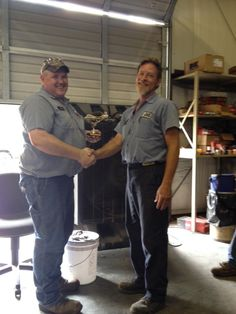 """WBI's Equipment Group initiated a new """"Honk Honk Award."""" A trophy of a goose will be presented to employees who go the extra mile to support each other and the company. Geese are interesting in how work together to make flight easier in their """"V"""" formation. They honk to encourage each other to press forward. Karl Knight was the first recipient. He was recognized for working tirelessly, with a positive attitude, late on a recent Friday night to get two trucks back on the road.  Great job…"""