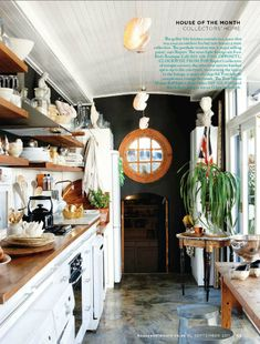 House and Leisure {eclectic white and wood rustic modern kitchen} by recent settlers, via Flickr