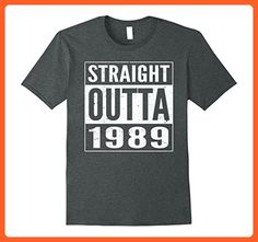 Mens Straight Outta 1989 Birthday Gift Idea Funny T-shirt 3XL Dark Heather - Funny shirts (*Partner-Link)