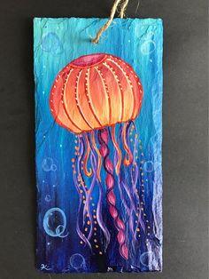 inch Tribal jellyfish on slate . Art Vampire, Vampire Knight, Jellyfish Painting, Jellyfish Drawing, Jellyfish Aquarium, Blue Jellyfish, Canvas Painting Tutorials, Jar Art, Art Drawings For Kids