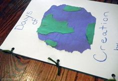 Use torn paper to make a Days of Creation notebook. Okay for non-readers & readers alike.