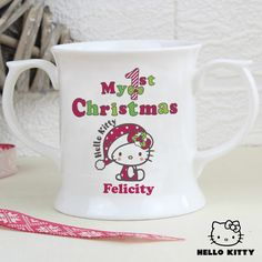 Personalise this Hello Kitty My 1st Christmas Loving Mug with a name on the front up to 12 characters in length.  #ChristmasGifts