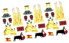 """Custom & Decorative { .25"""" to 3"""" Inch} 16 Count of Mid-Size Stickers for Arts, Crafts & Scrapbooking w/ Cartoon Classic Vintage Travel Spain Castles Bull Fighters { Beige, Yellow, Black & White}"""