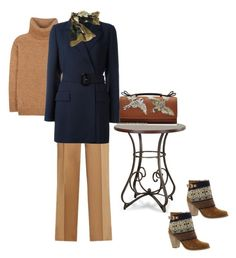 """""""Navy Coat So Versatile"""" by shamrock-gal ❤ liked on Polyvore featuring Yves Saint Laurent, Jessica Simpson, Nili Lotan, RED Valentino, Calvin Klein Collection and Borbonese"""