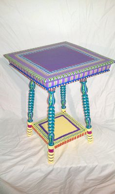 SOLD sample of CUSTOM WORK  Side Table Hand Painted by LisaFrick, $150.00