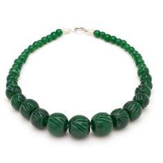 Splendette Deep Green Carved Fakelite Bead Necklace