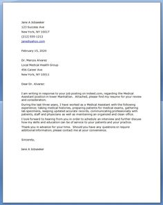 medical assistant cover letter example