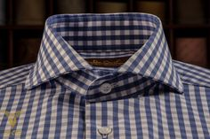 Blue Gingham Pinpoint Dress Shirt With Cut Away Spread Collar And Rounded Double Button  Bevelled Cuffs