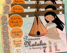 Pocahontas Princess Party Invitation by StripesnDotsGifts on Etsy Pocahontas Birthday Party, Princess Party Invitations, Party Cakes, All Things, Reception, Birthday Parties, Prints, Handmade, Etsy