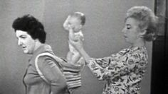 """1963 video about babywearing or """"baby toting."""" An early babywearing advocate like so many of us, speaking of the same benefits and convenience of babywearing."""