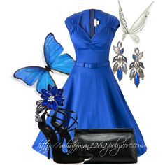 Blue Butterfly by mhuffman1282 on Polyvore featuring Pinup Couture, Giuseppe Zanotti, Nak Armstrong, Wet Seal and Acne Studios