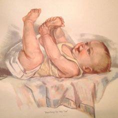 """Reaching for My Toe"" Original Print Baby Ann Brockman Nursery Decor Gift VTG #Realism"