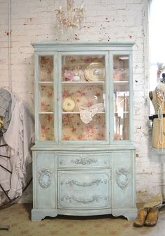 Painted Cottage Chic Shabby Romantic French China Cabinet CC650