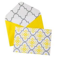 Notecard Box 10CT MUSTARD/SILVER DAMASK