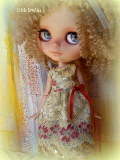 5636888d7 BLYTHE or Pullip DOLL Dress - OOAK - Luscious lace over vintage music  w sparkle