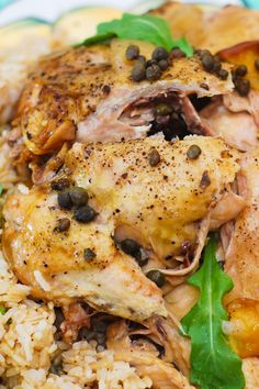 Crockpot chicken cooked with peaches, capers. The chicken is moist and tender.  Served over brown rice. | gluten free, slow cooker recipes, crockpot recipes, slow cooker chicken recipes, healthy meals