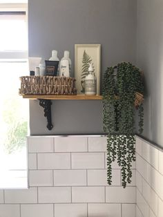 Shelf from B & Q , faux string of pearls by Heavenly Home & Gardens , Basket from HomeSense Warm Bathroom, Fitted Bathroom, Small Bathroom, Garden Bathroom, Bathroom Showers, Family Bathroom, Bathroom Cupboards, Bathroom Renos, Bathroom Renovations