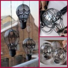 Turn Burnt Out Light Bulbs Into Steampunk Baroque Hot Air Balloon by Dollar Store Crafter
