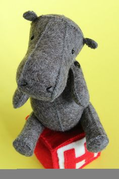 H is for Hippo completely hand sew sewing pattern by ricracsews, $12.00