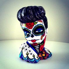 Pinup Girl Vase Day of the Dead Planter Hand Painted Retro Tattoos by sewZinski