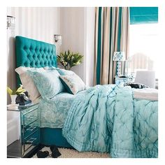 Bright blue accents bedroom | Bedroom designs | Headboard | housetohome.co.uk, found on polyvore.com
