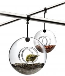 Bird Feeder by Eva Solo  571030  $49.00    Bird feeder in mouth-blown glass with accompanying hanger.