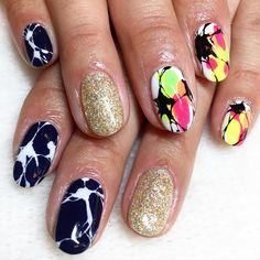 marble mix n match nail art