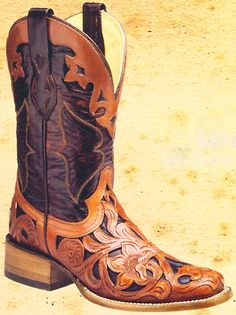 Corral Ladies Handmade Boots - Ladies Handtooled Roper Boots