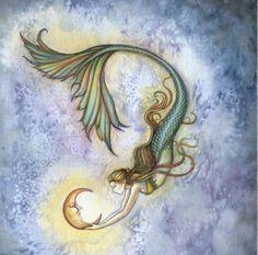Credit to Molly Harrison Art Mermaid Fairy, Mermaid Room, Real Mermaids, Mermaids And Mermen, Mythical Creatures, Sea Creatures, Merfolk, Moon Child, The Little Mermaid