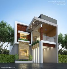 Most Amazing Modern House Exterior Design 3 Storey House Design, House Front Design, Modern House Design, Facade Design, Exterior Design, Modern Bungalow House, Duplex House, House Elevation, Front Elevation Designs